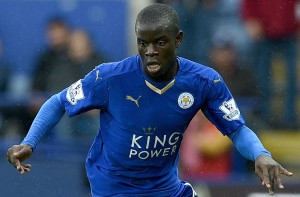LEICESTER, ENGLAND - OCTOBER 24: N'Golo Kante of Leicester during the Barclays Premier League match between Leicester City and Crystal Palace at The King Power Stadium on October 24, 2015 in Leicester, England. (Photo by Ross Kinnaird/Getty Images)