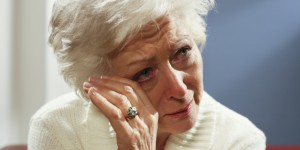 senior woman crying